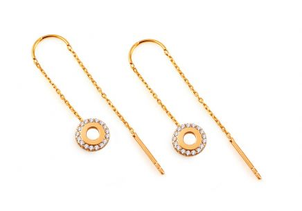 Gold chain earrings with circles