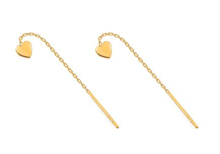 Gold Earrings Hearts