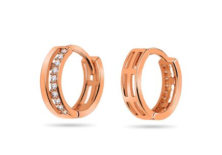 Pink gold earrings decorated with cubic zirconia