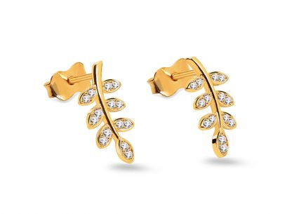 Gold earrings with zircon