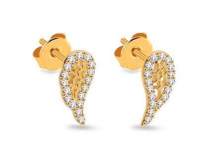 Gold stud zirconia earrings Angel wings