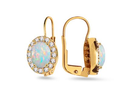 Gold earrings with opals and cubic zirconia