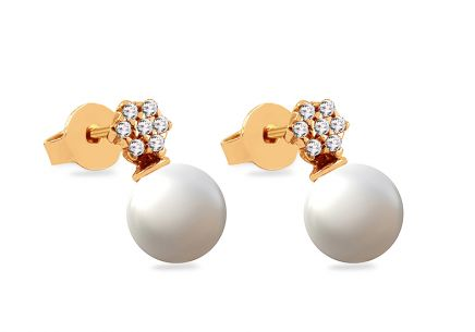 Gold stud earrings with zircons and white pearls