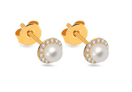 Pearl earrings with zircons 4 mm