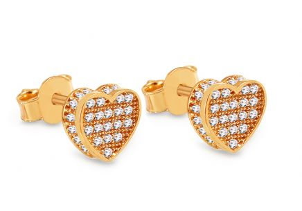 Gold Cubic Zirconia Heart Stud Earrings