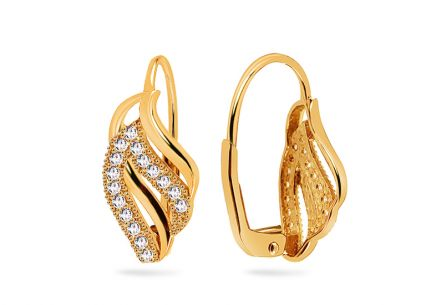 Gold earrings with cubic zirconia
