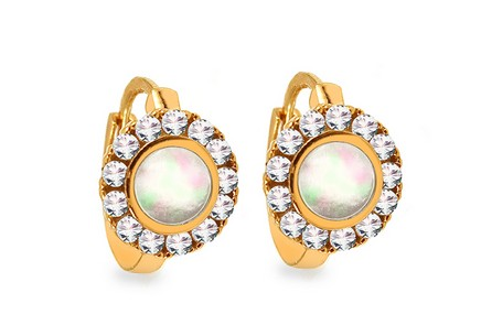 Gold earrings with natural pearl and zircons