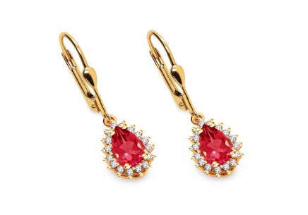 Gold earrings with pink and clear zircons