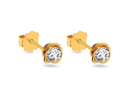 Gold floral stud earrings with zircon
