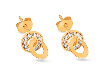 Gold round stud earrings with zircons