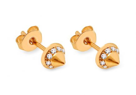Gold Stud Earrings with Zircons