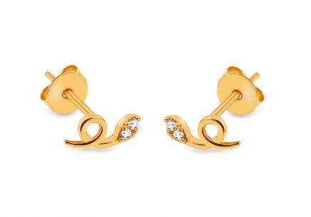 "Gold Stud Earrings with Zircons ""Snakes"""