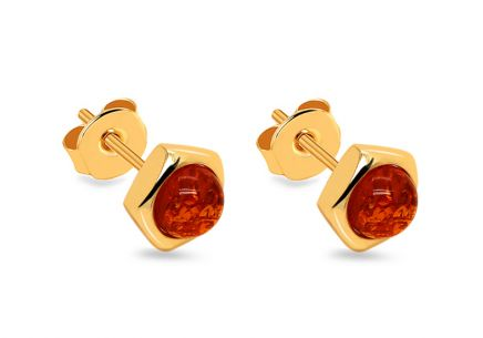 Golden Earrings with Amber