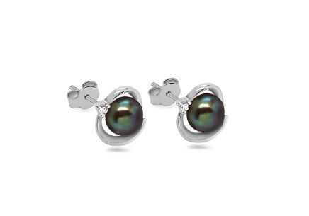 Rhodium plated 925Sterling Silver Pearl earrings with cubic zirconia