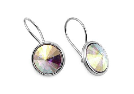 Silver earrings with rainbow crystals