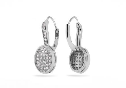 Silver glittering earrings with zircons