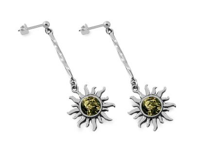 Silver hanging earrings with amber Sun