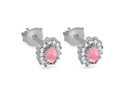 Silver stud earrings with pink and clear zircons