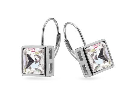 Silver square earrings with zircons
