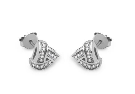 Silver triangle stud earrings with zirconia