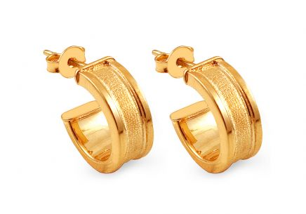 Gold plated matt hoop earrings 1.4 cm