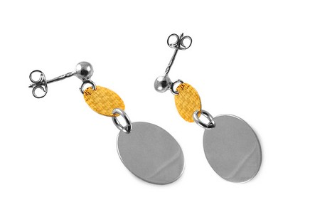 Rhodium plated silver earrings with gold-plated design