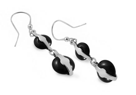 Silver dangling earrings design with black ceramic