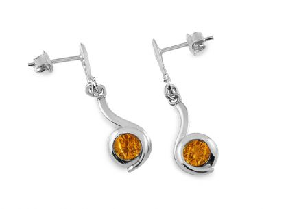 Silver Drop Earrings with Amber