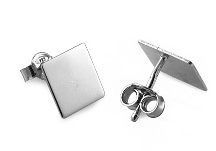 Rhodium plated sterling Silver Earring Square