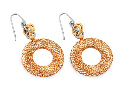 Silver Earrings Gold Wheel