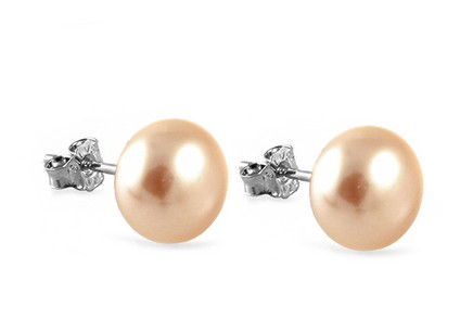 925Sterling Silver earrings Right Orange Pearl