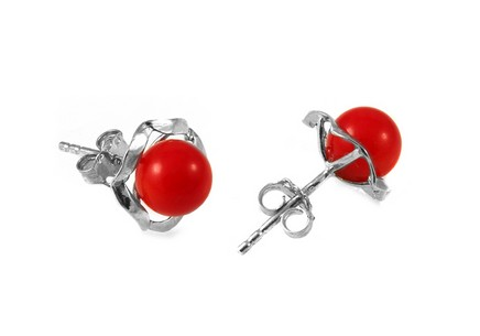 925Sterling Silver flower earrings with red pearl