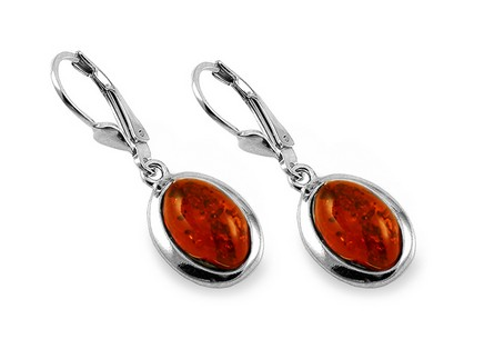 Silver oval hanging earrings with amber