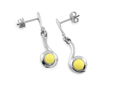 Silver pendant earrings with yellow amber