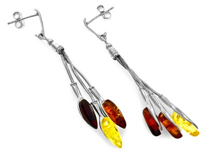 Sterling Silver Earrings with Amber