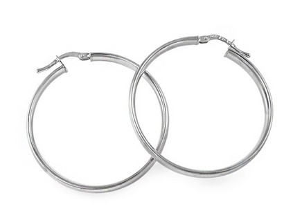 Sterling Silver Hoop Earrings 3.5 cm