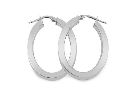 Sterling Silver Hoop Earrings Elipse White