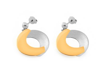Women earrings combined Rhodium and gold plated Harmony