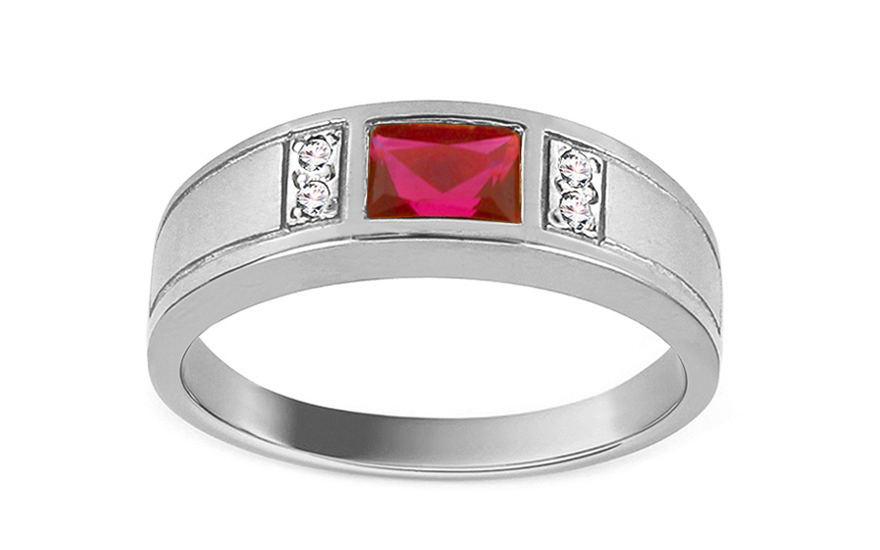 Engagement Ring with Red Stone Isarel white - CSRI1072A