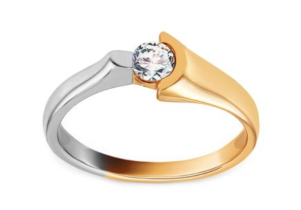 Combined Gold Engagement Ring with Zircon Agnella