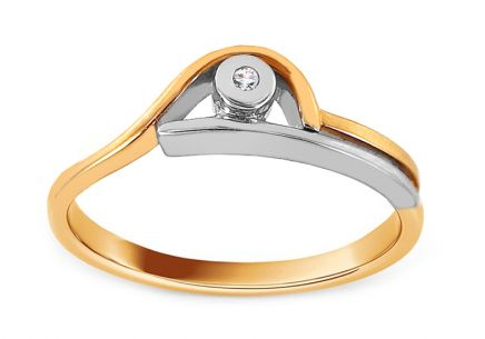 Combined Gold Engagement Ring with Zircon Bysen