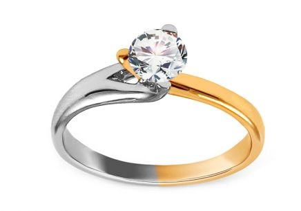 Combined Gold Engagement Ring with Zircon Eulália