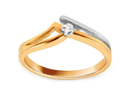 Combined Gold Engagement Ring with Zircon Mykala
