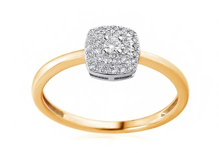 Gold engagement ring with 0.140 ct Lasalle diamonds