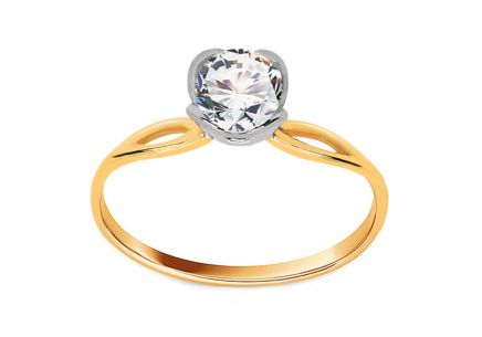 Gold Engagement Ring with Zircon Diane 1
