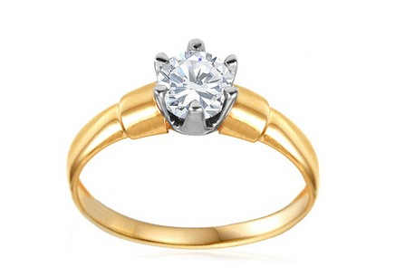Gold Engagement Ring with Zircon Severa