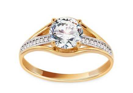 Gold Engagement Ring with Zircons Baylee