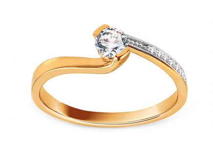 Gold Engagement Ring with Zircons Fianna 2