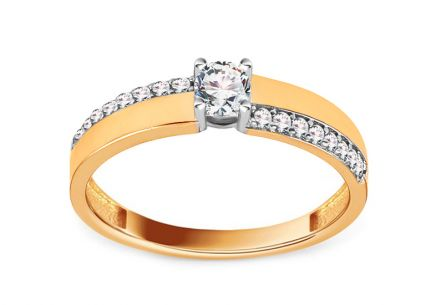 Gold Engagement Ring with Zircons Graciela