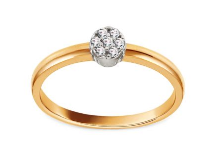 Gold Engagement Ring with Zircons Iamara